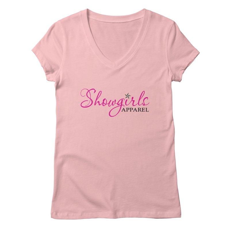 Showgirls Apprel - Pink & Black in Women's Regular V-Neck Pink by ishCreatives's Artist Shop