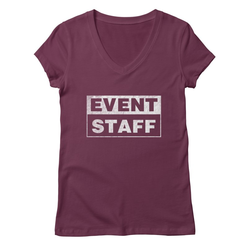 EVENT STAFF - Dark in Women's Regular V-Neck Dark Red by ishCreatives's Artist Shop