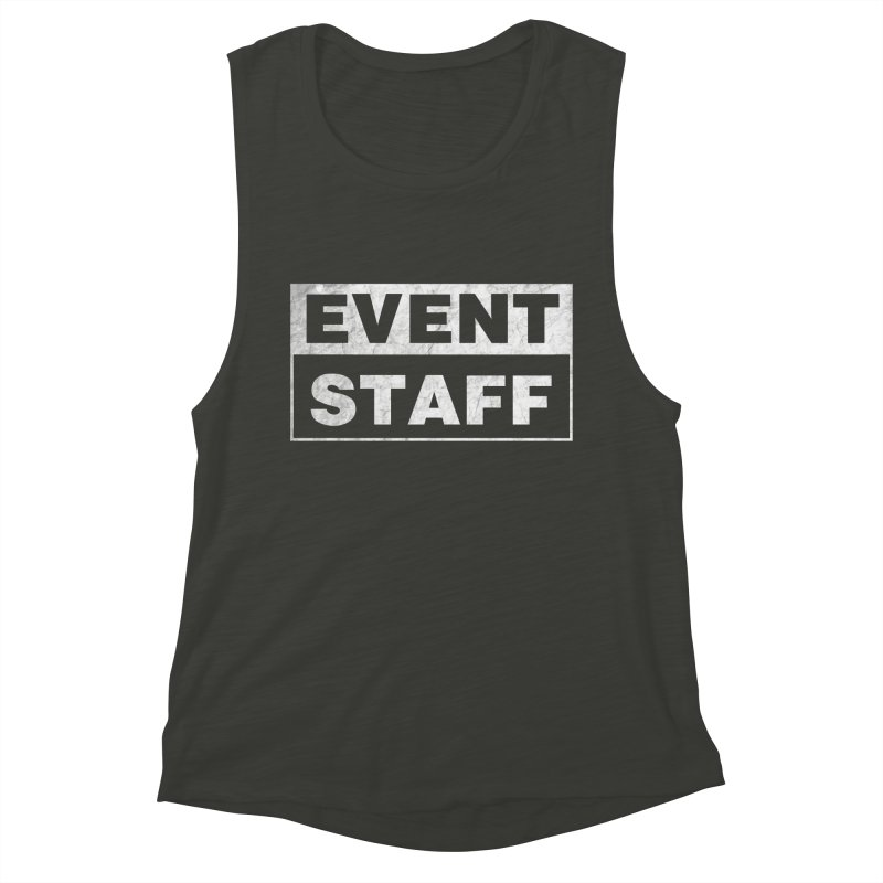 EVENT STAFF - Dark in Women's Muscle Tank Charcoal Black Slub by ishCreatives's Artist Shop