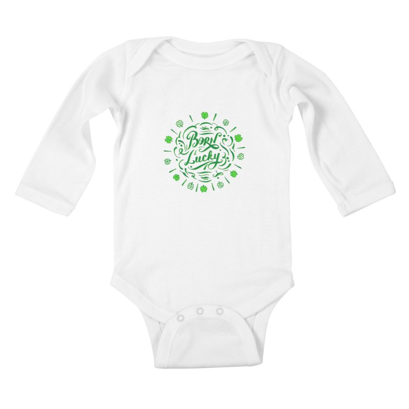Born Lucky Kids Baby Longsleeve Bodysuit by Ira Shepel Artist Shop