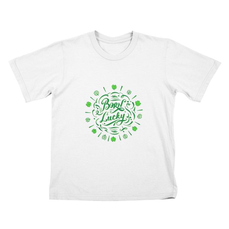Born Lucky Kids T-Shirt by Ira Shepel Artist Shop