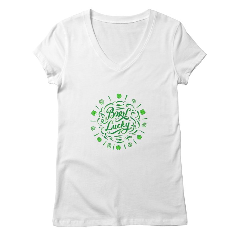 Born Lucky Women's V-Neck by Ira Shepel Artist Shop