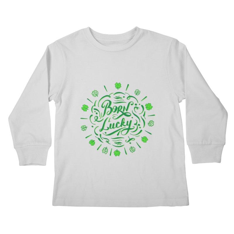 Born Lucky Kids Longsleeve T-Shirt by Ira Shepel Artist Shop