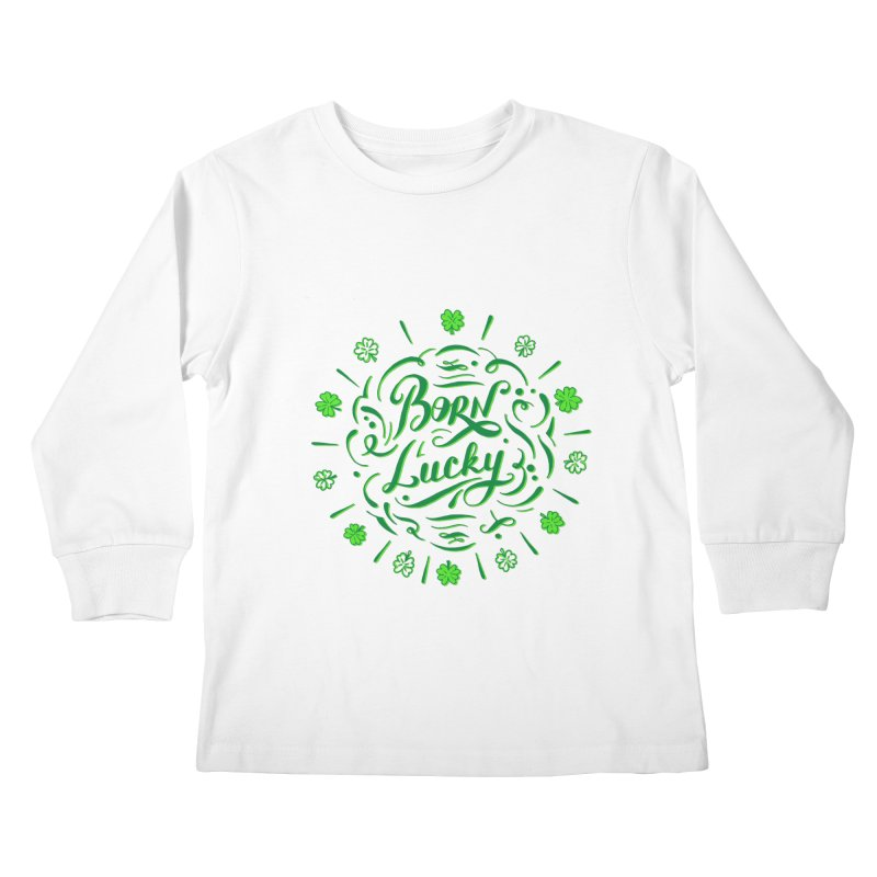 Born Lucky Kids Longsleeve T-Shirt by Ira Shepel Artist Shop