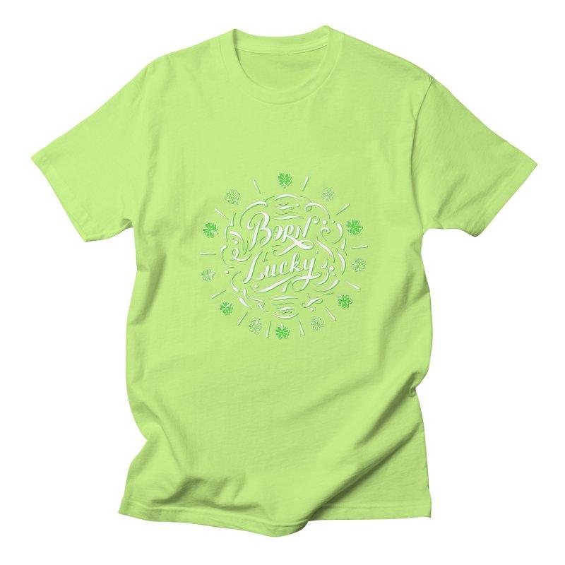 Born Lucky  Men's Regular T-Shirt by Ira Shepel Artist Shop