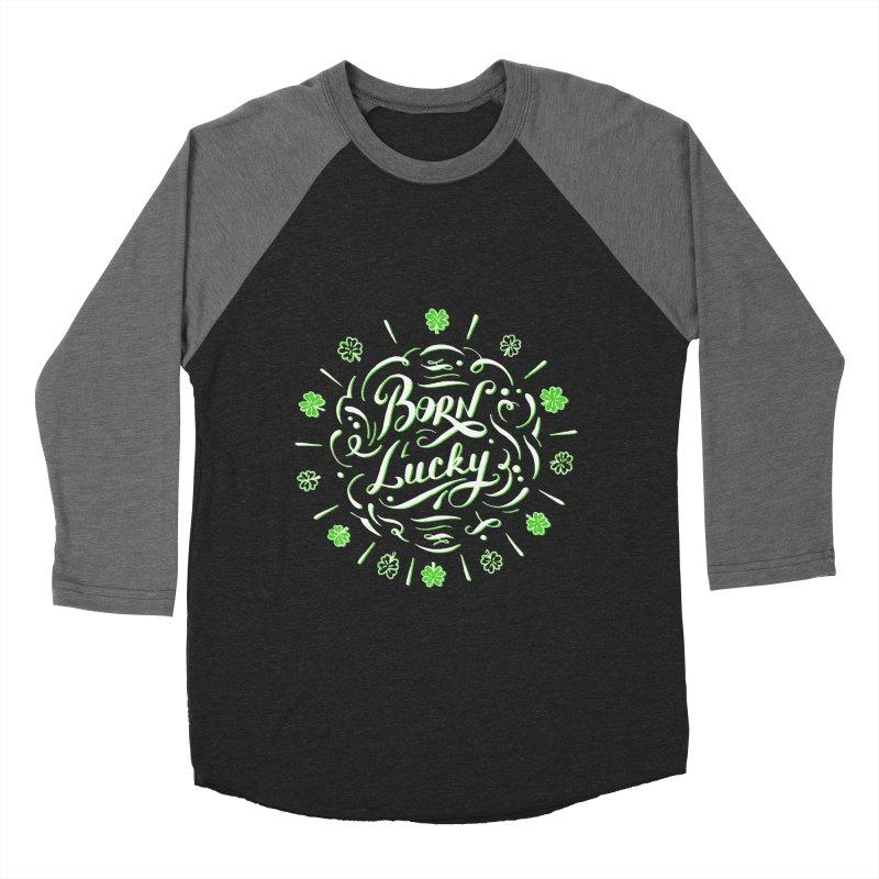 Born Lucky  Men's Baseball Triblend T-Shirt by Ira Shepel Artist Shop