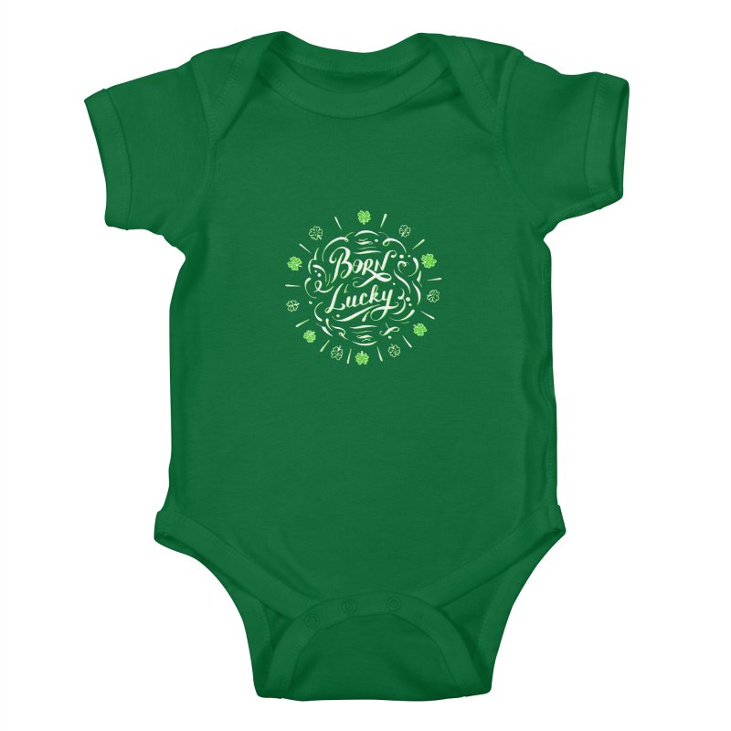Born Lucky  Kids Baby Bodysuit by Ira Shepel Artist Shop
