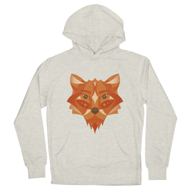Geometrical Fox Men's French Terry Pullover Hoody by Ira Shepel Artist Shop