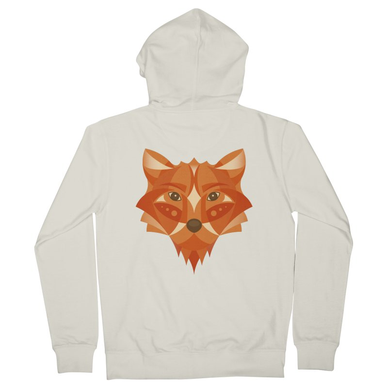 Geometrical Fox Men's French Terry Zip-Up Hoody by Ira Shepel Artist Shop