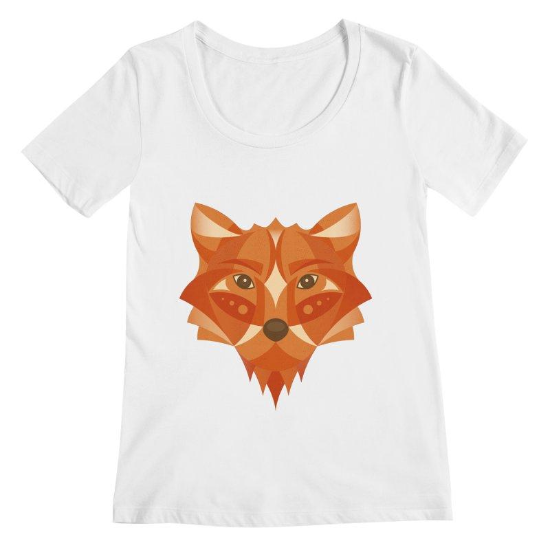 Geometrical Fox Women's Scoopneck by Ira Shepel Artist Shop