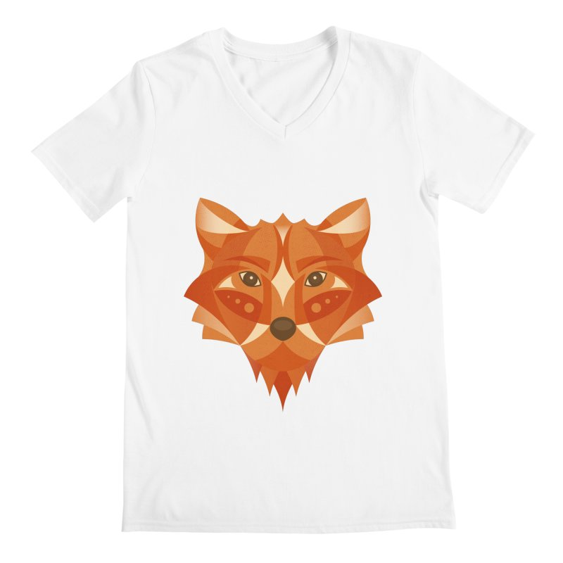 Geometrical Fox Men's V-Neck by Ira Shepel Artist Shop