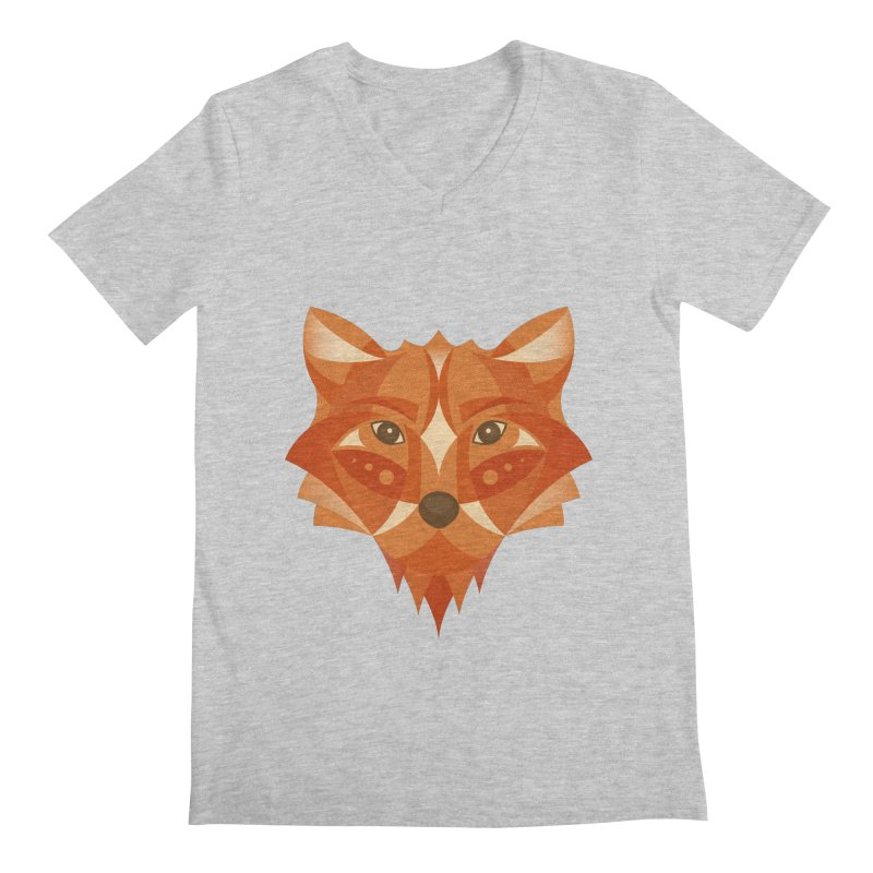 Geometrical Fox Men's Regular V-Neck by Ira Shepel Artist Shop