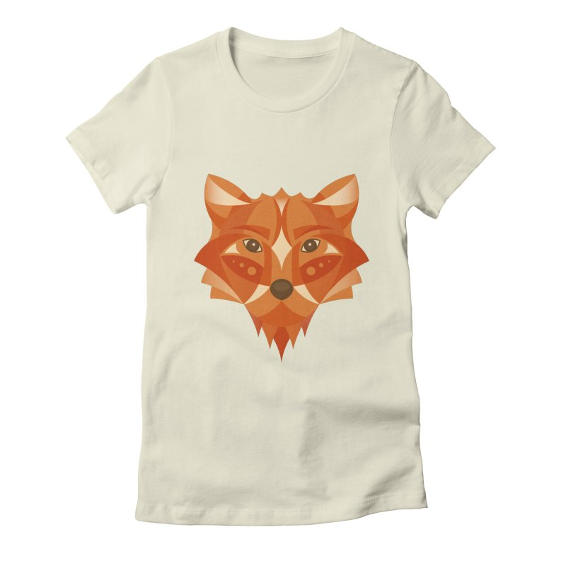 Geometrical Fox Women's Fitted T-Shirt by Ira Shepel Artist Shop