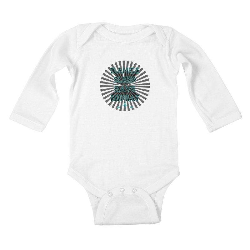 Dance Sleep Rave Repeat Kids Baby Longsleeve Bodysuit by itelchan's Artist Shop