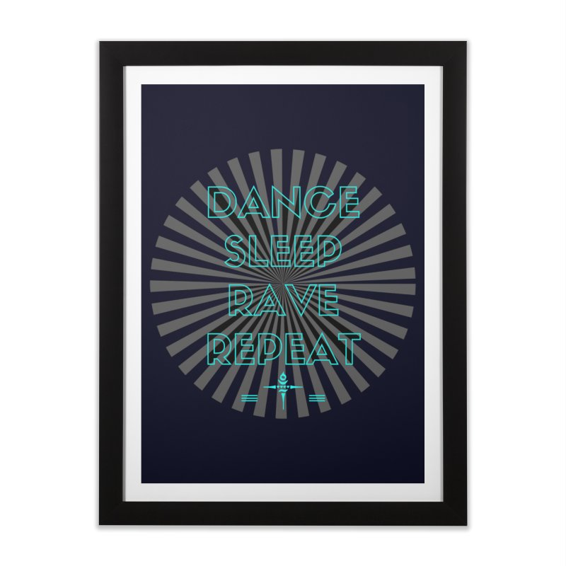 Dance Sleep Rave Repeat Home Framed Fine Art Print by itelchan's Artist Shop