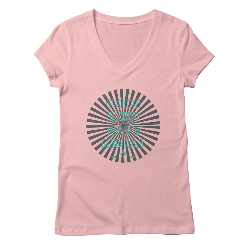 Code Sleep Rave Repeat Women's V-Neck by itelchan's Artist Shop