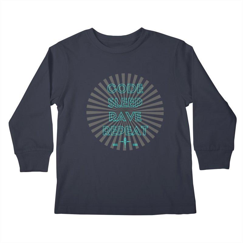 Code Sleep Rave Repeat Kids Longsleeve T-Shirt by itelchan's Artist Shop