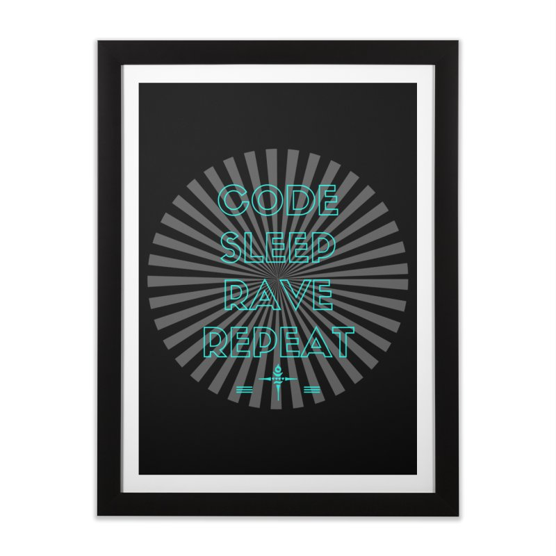 Code Sleep Rave Repeat Home Framed Fine Art Print by itelchan's Artist Shop