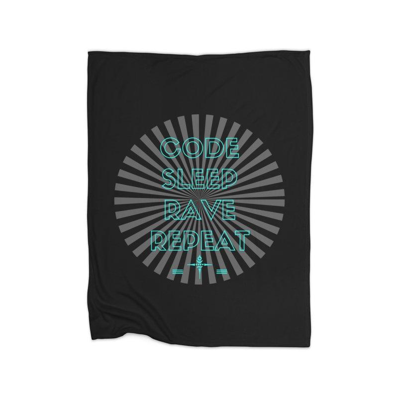 Code Sleep Rave Repeat Home Blanket by itelchan's Artist Shop