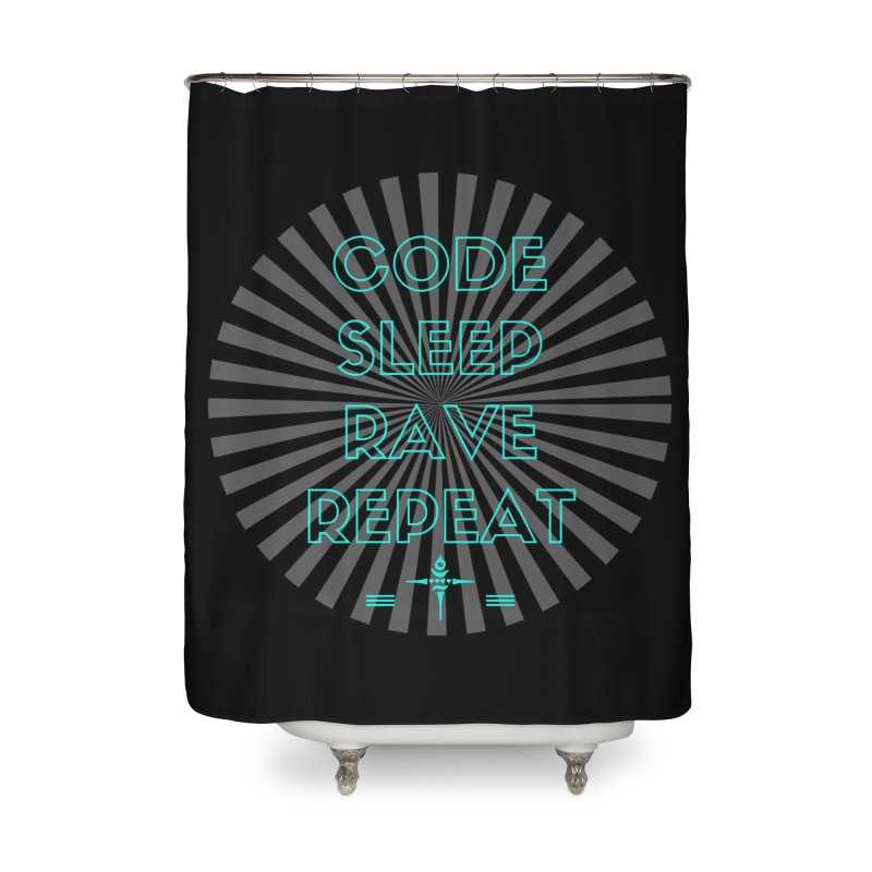 Code Sleep Rave Repeat Home Shower Curtain by itelchan's Artist Shop