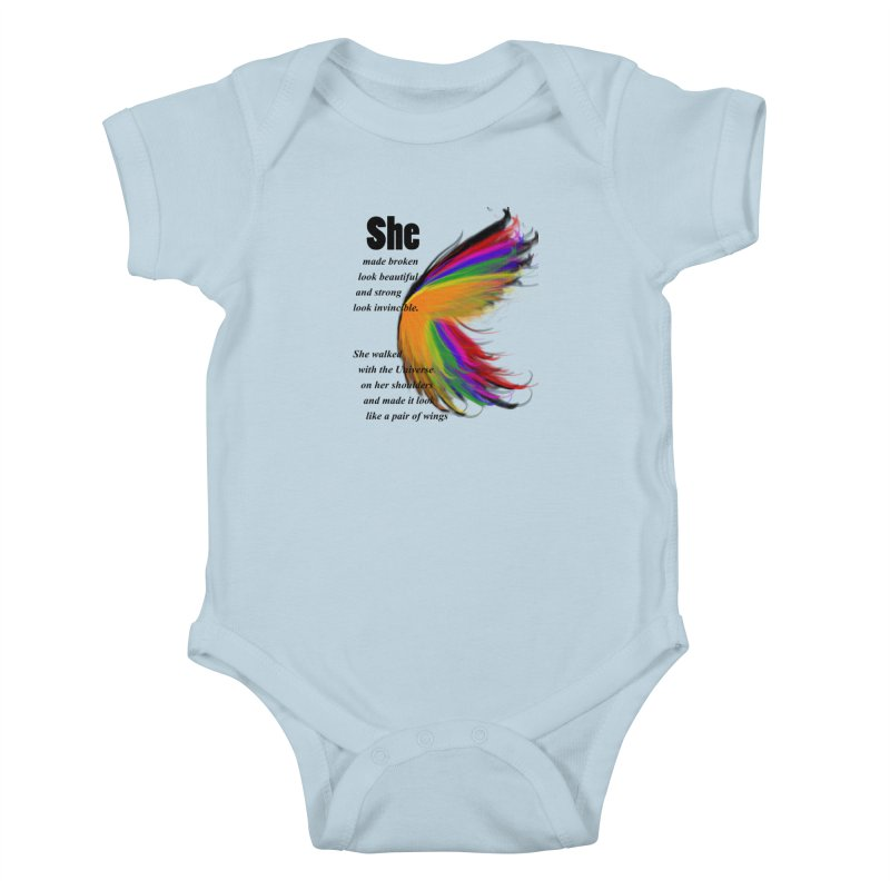 She has wings Kids Baby Bodysuit by itelchan's Artist Shop