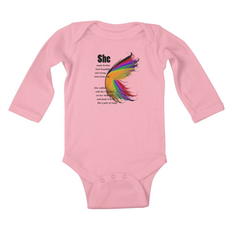 She has wings Kids Baby Longsleeve Bodysuit by itelchan's Artist Shop