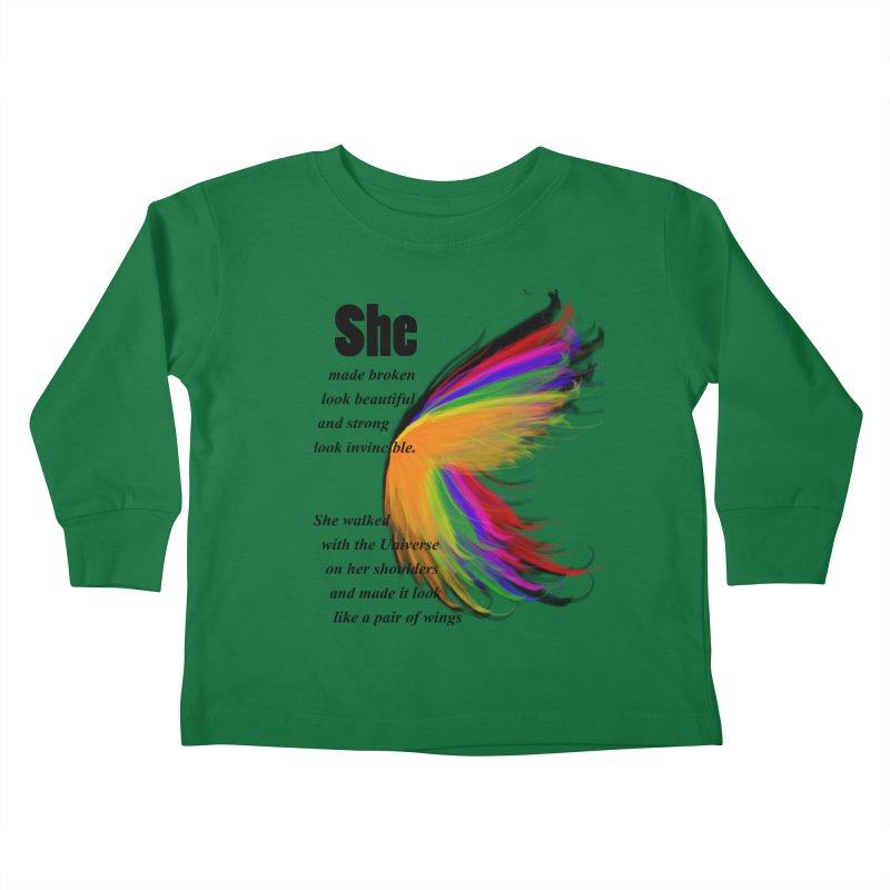 She has wings Kids Toddler Longsleeve T-Shirt by itelchan's Artist Shop