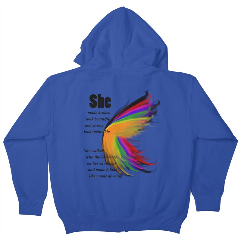 She has wings Kids Zip-Up Hoody by itelchan's Artist Shop