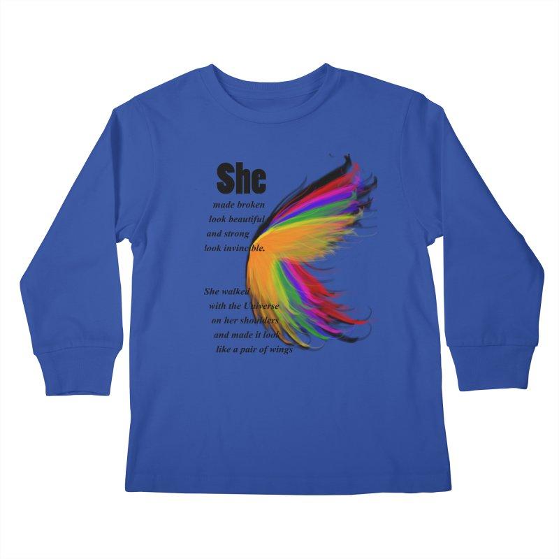 She has wings Kids Longsleeve T-Shirt by itelchan's Artist Shop