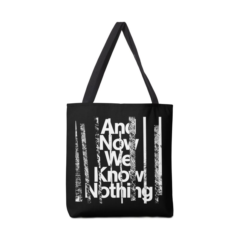 """Israel Vines """"And Now We Know Nothing"""" White Ink Accessories Bag by Interdimensional Transmissions"""