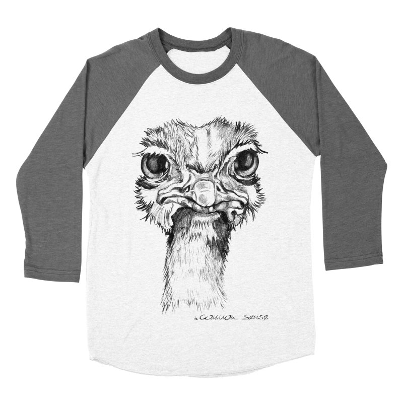 The Common Ostrich Men's Baseball Triblend Longsleeve T-Shirt by it's Common Sense