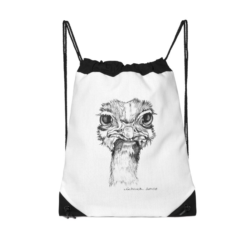 The Common Ostrich Accessories Drawstring Bag Bag by it's Common Sense