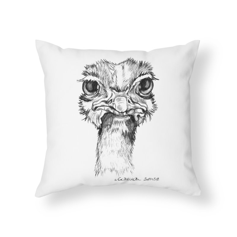The Common Ostrich Home Throw Pillow by it's Common Sense