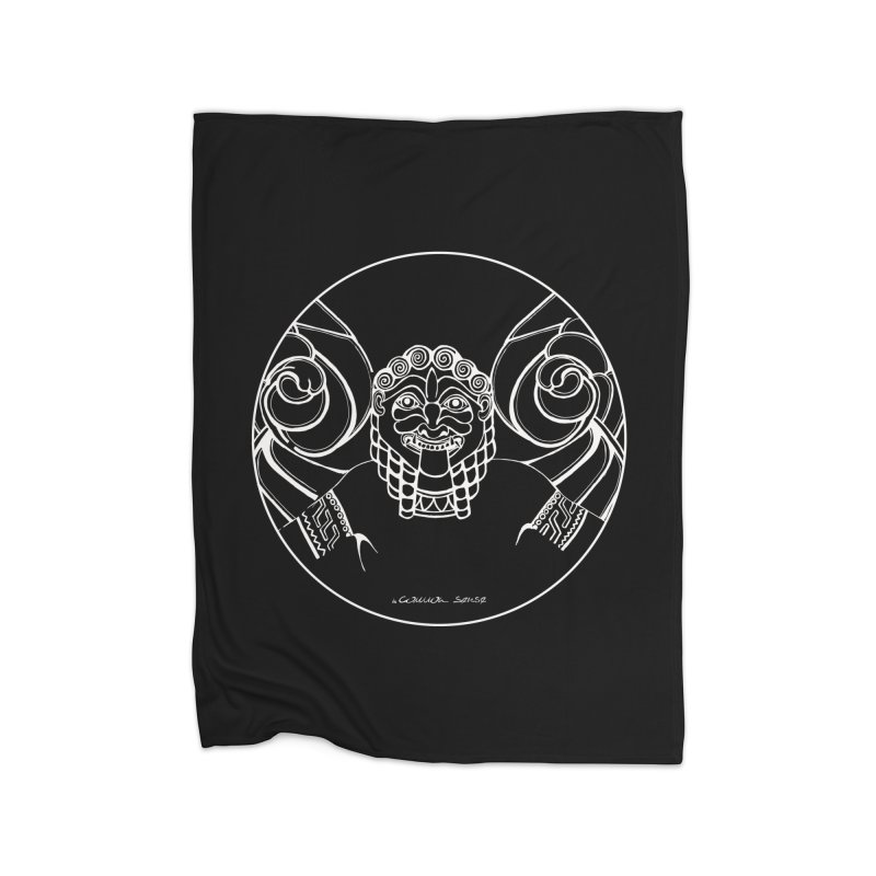 the white Medusa Home Fleece Blanket Blanket by it's Common Sense
