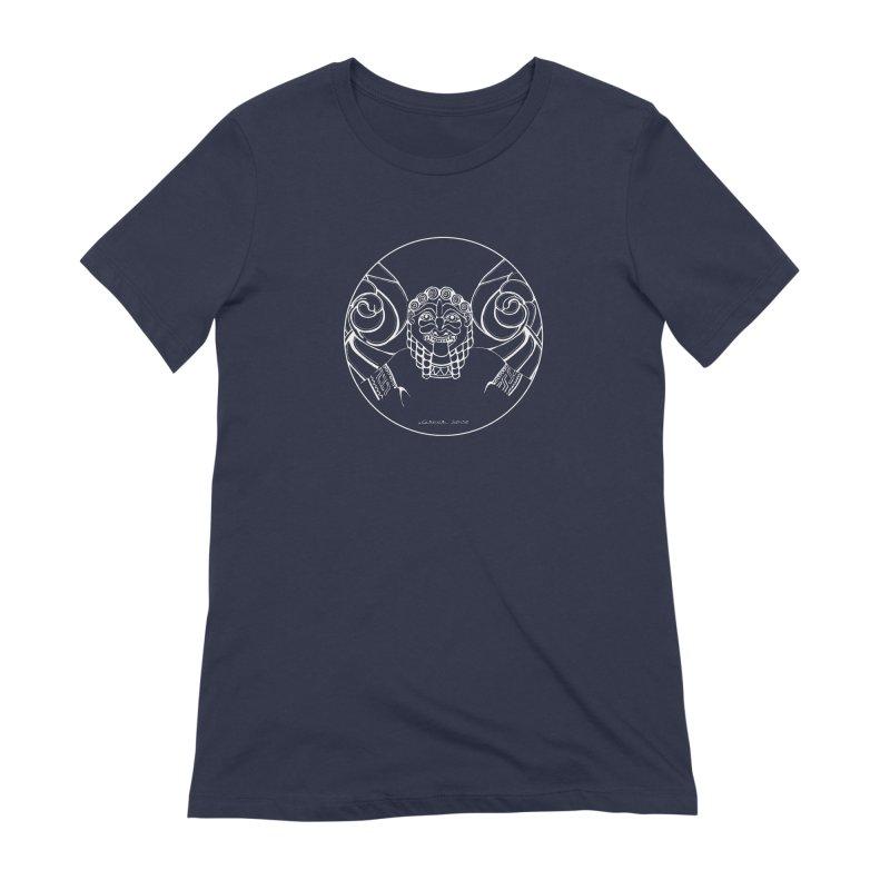 the white Medusa Women's Extra Soft T-Shirt by it's Common Sense