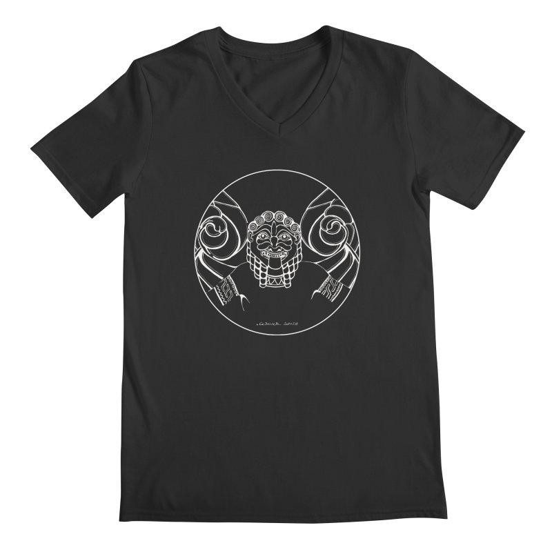 the white Medusa Men's Regular V-Neck by it's Common Sense