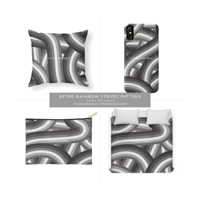 Black Gray and White Retro Stripes Pattern by itsjensworld's Artist Shop