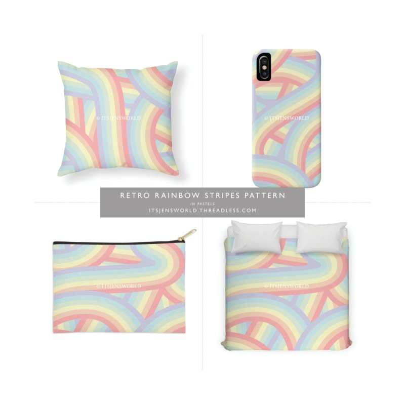 Pastel Retro Rainbow Stripes Pattern by itsjensworld's Artist Shop