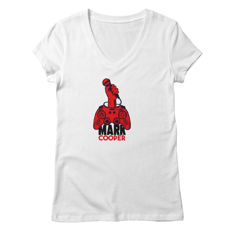 Mark Cooper (Red n Black) Logo Women's V-Neck by itsmarkcooper's Artist Shop