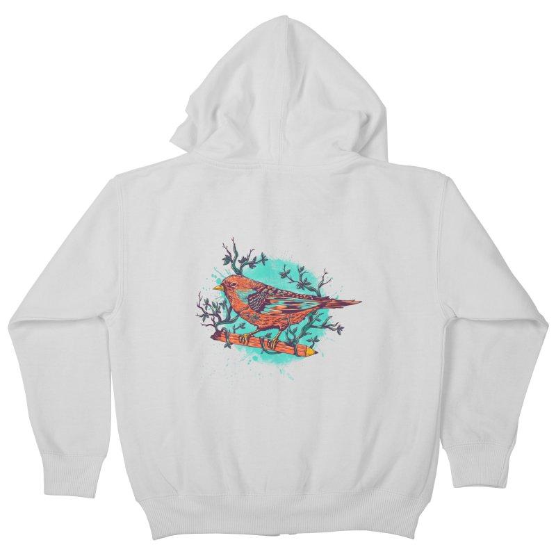 bird Kids Zip-Up Hoody by itssummer85's Artist Shop