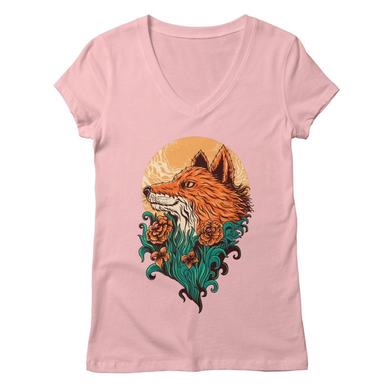 fox Women's V-Neck by itssummer85's Artist Shop