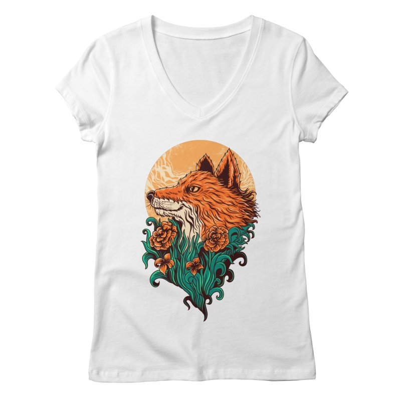 fox Women's V-Neck by itssummer85's Artist Shop