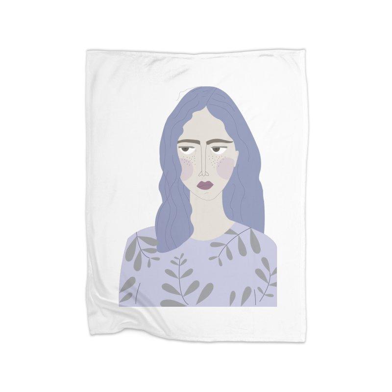 Girl Home Fleece Blanket Blanket by ivvch's Artist Shop