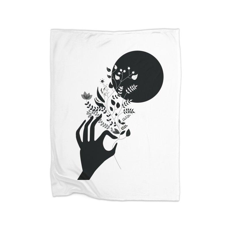 Moon Home Fleece Blanket Blanket by ivvch's Artist Shop