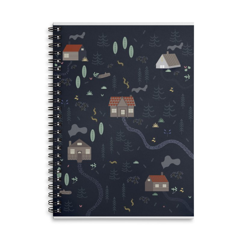 Mountain SUmmer NIght Accessories Lined Spiral Notebook by ivvch's Artist Shop
