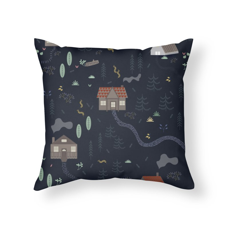 Mountain SUmmer NIght Home Throw Pillow by ivvch's Artist Shop