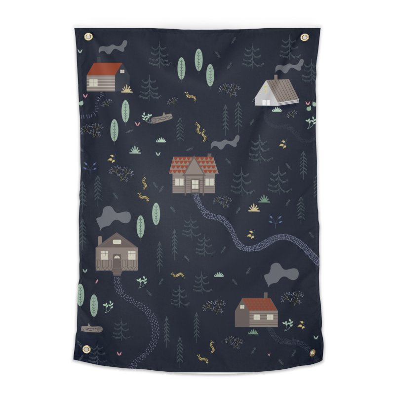 Mountain SUmmer NIght Home Tapestry by ivvch's Artist Shop