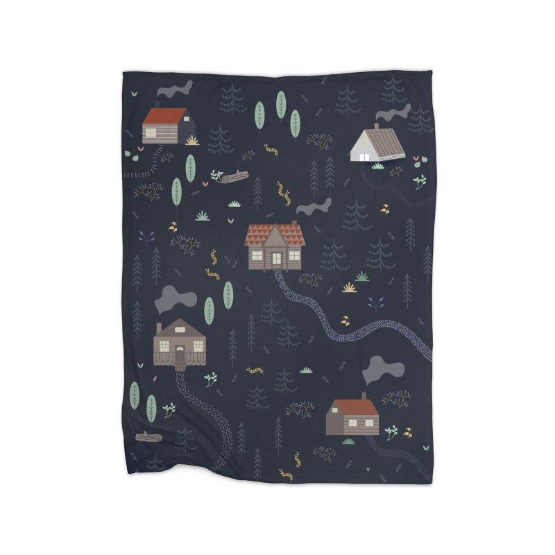 Mountain SUmmer NIght Home Fleece Blanket Blanket by ivvch's Artist Shop