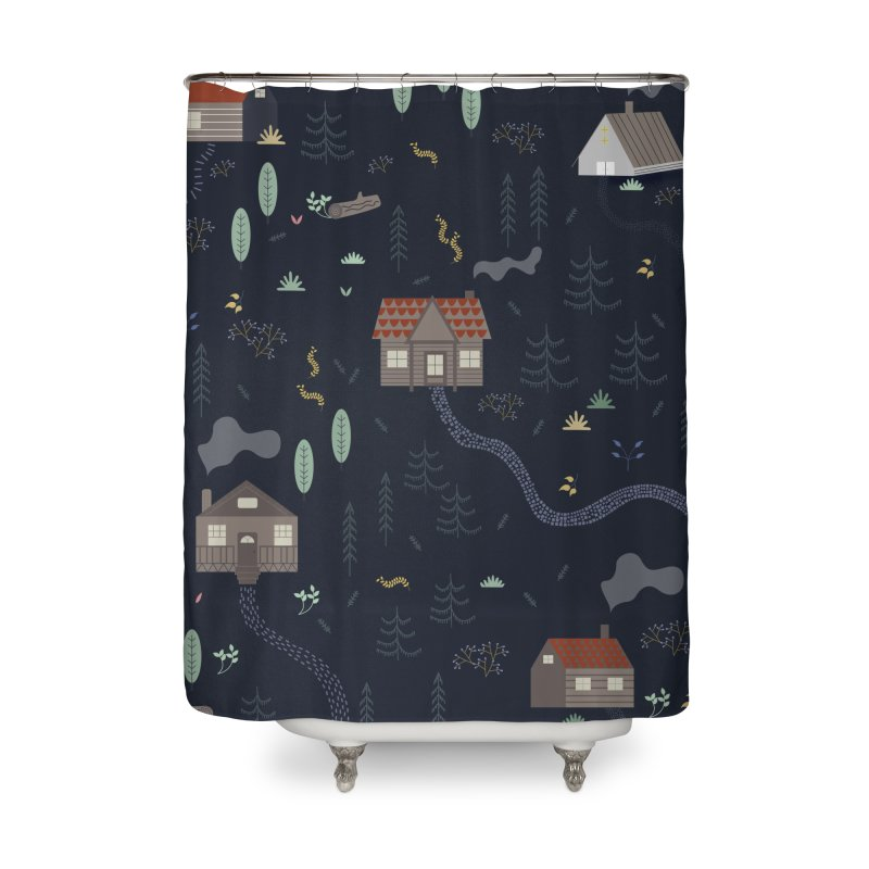 Mountain SUmmer NIght Home Shower Curtain by ivvch's Artist Shop