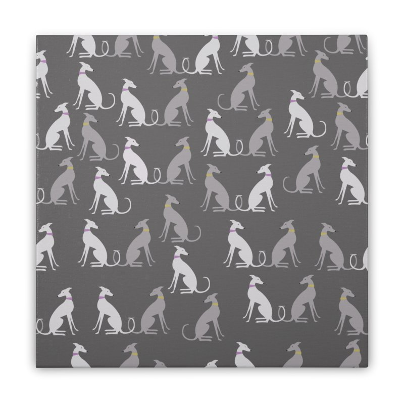Whippet Pattern Home Stretched Canvas by ivvch's Artist Shop